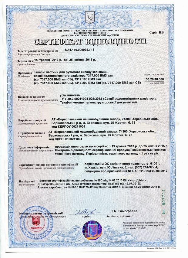 Сертификат секции