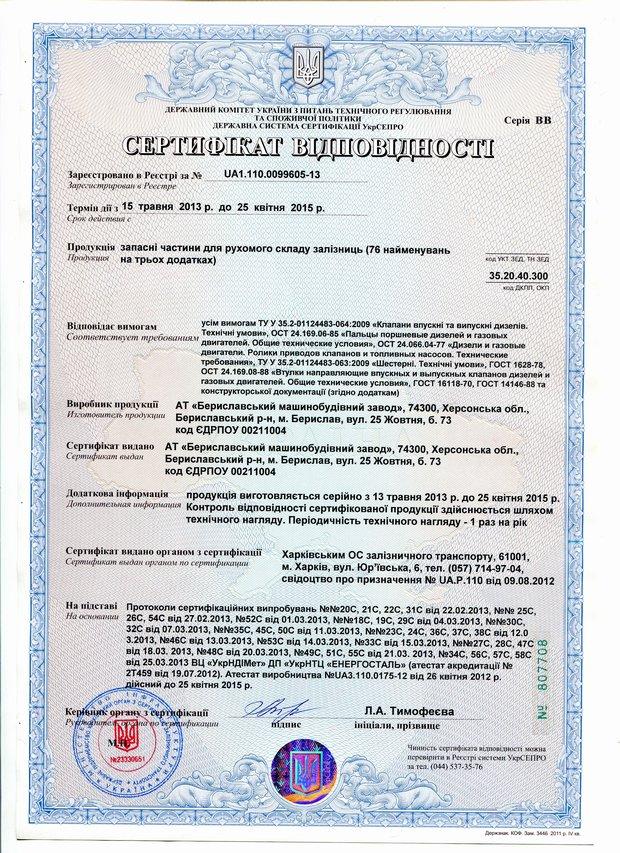 Сертификат клапаны, пальцы, шестерни и др.