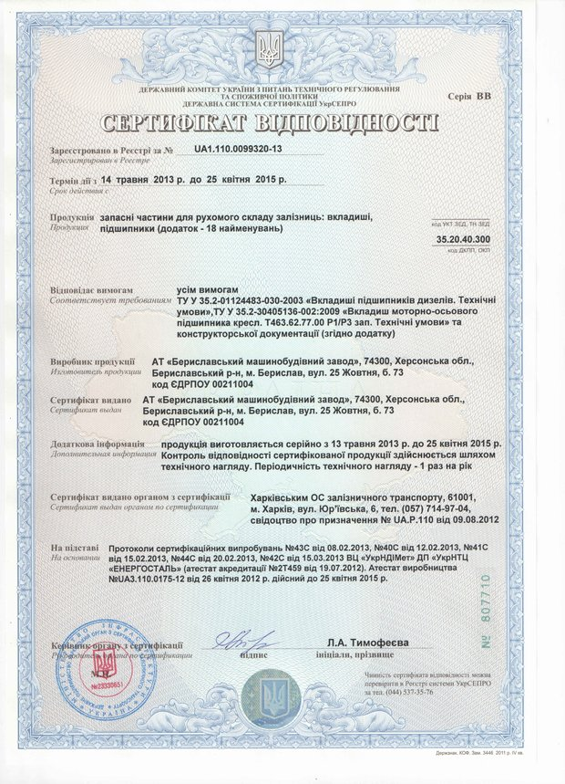 Сертификат вкладыши