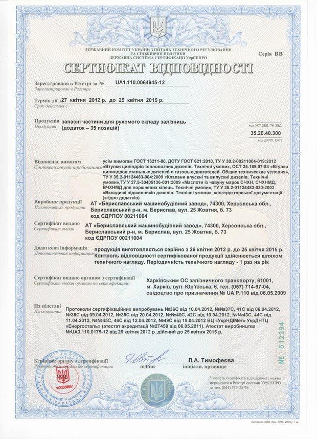 Сертификат втулки